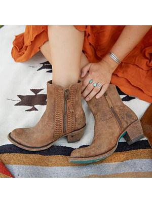 Stylish High Heel Side Zip Martin Boots, 10496287