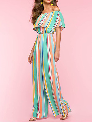 Fashion print striped contrast summer jumpsuit, 23841812