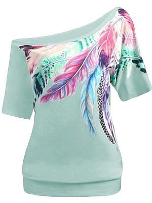 Open Shoulder Feather Short Sleeve T-shirt фото