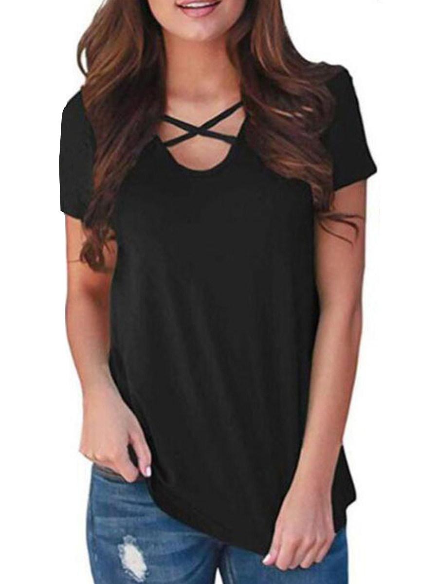 BerryLook V Neck Print Patchwork Short Sleeve T-shirt