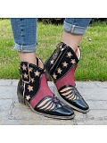 Image of Fashion pointed five-pointed star color matching short boots