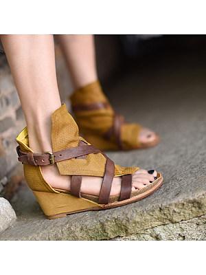 Women's Fashion Wedge Heel Open Toe Buckle Sandals, 24107548
