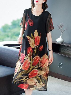 Round Neck Chiffon Print Short Sleeve Shift Dress