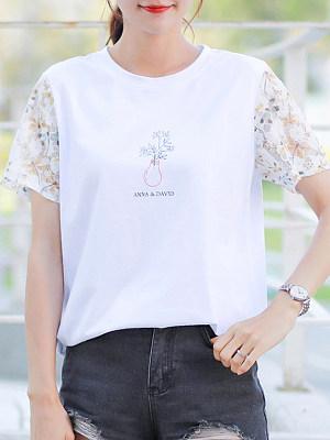 Round Neck Patchwork Short Sleeve T-shirt, 23707726