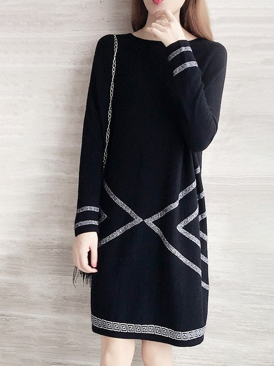 Fashion round neck loose shift dress - from $13.95
