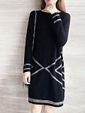 Fashion round neck loose shift dress