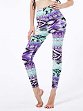 Image of Fashion gradient color geometric print casual leggings