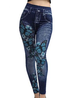 Summer thin butterfly pattern seamless imitation denim super stretch leggings