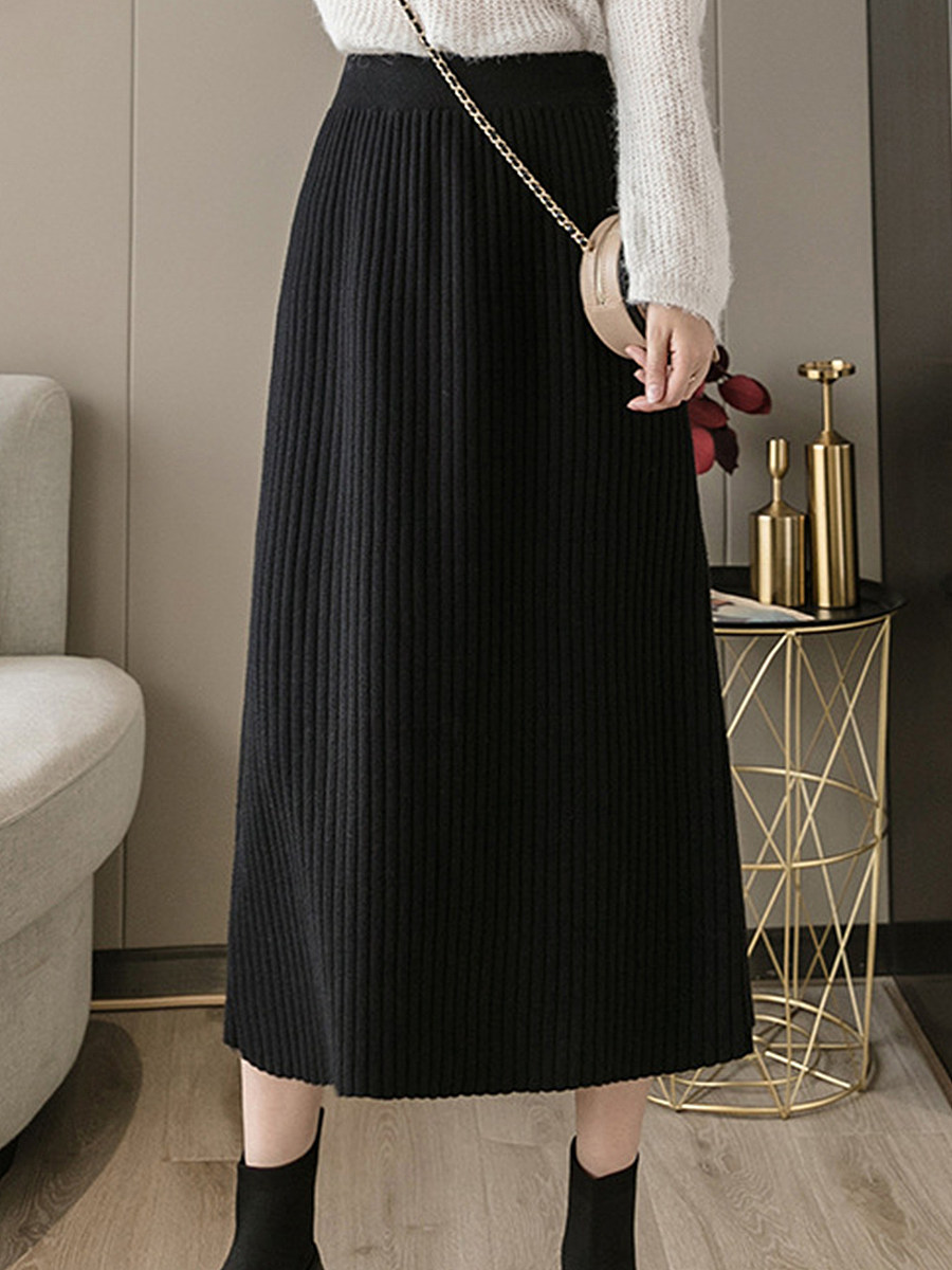 Autumn and winter knit mid-length solid color high waist casual bag hip skirt