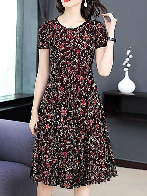 Berrylook Round Neck Short Sleeve Floral Skater Dress shop, stores and shops, floral skater dress, floral fit and flare dress