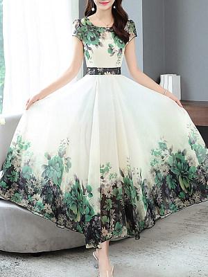 Round Neck Printed Maxi Dress фото