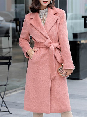Fashion Women's Solid Color Fold Collar Midi Long Coat gender:female, season:autumn,winter,spring, texture:woolen, sleeve_length:long sleeve, style:japan and south korea, collar_type:fold collar, dress_occasion:daily, bust:106,clothing length:106,shoulder width:40,