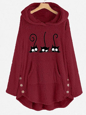 Buy Hoodies & Sweatshirts online shopping sites, sale from Berrylook Apparel & Accessories>Clothing>Shirts & Tops>Sweatshirts, Berrylook Cat embroidery top loose wool hooded sweater is well made of cotton and it\\\'s features are: shoulder width:40,bust:127,length:76,sleeve length:60 (in inches). Find best Hoodies & Sweatshirts at Berrylook.com