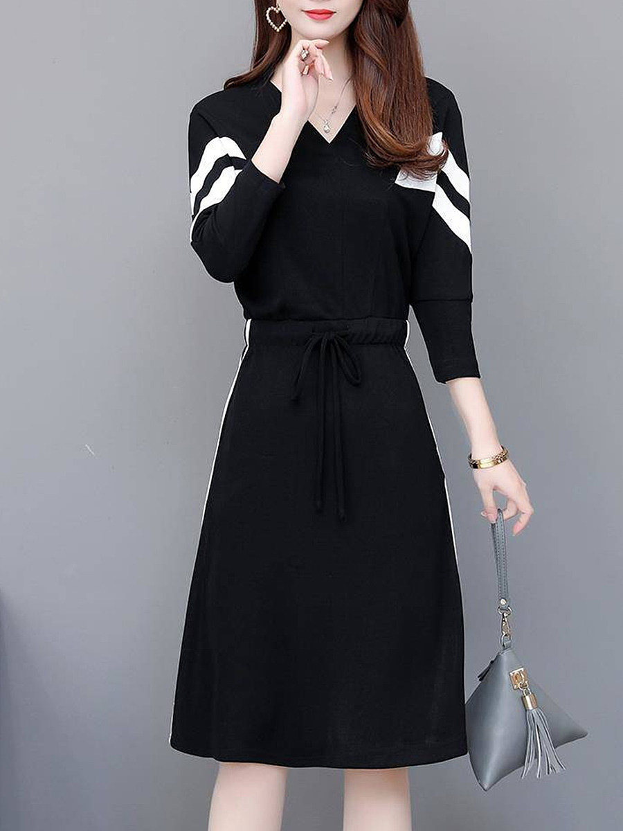 Lady's V Neck Color Block Elastic Waist Dress - from $19.95