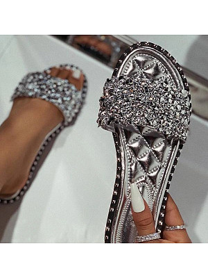 Women's fashion sequin slippers фото