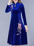 Image of Cheongsam Gold Velvet Plus Size Dress