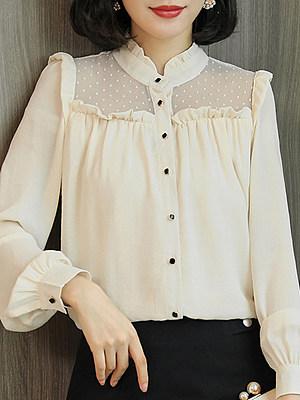Round Neck Patchwork Elegant Lace Long Sleeve Blouse, 10547426