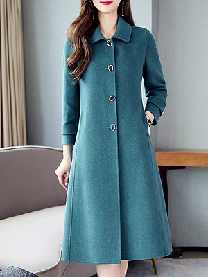 Fashion solid color lapel long-sleeved single-breasted long woolen coat, 10726557