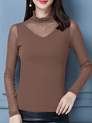 Heap Collar Patchwork Elegant Plain Long Sleeve T-Shirt, 10051128