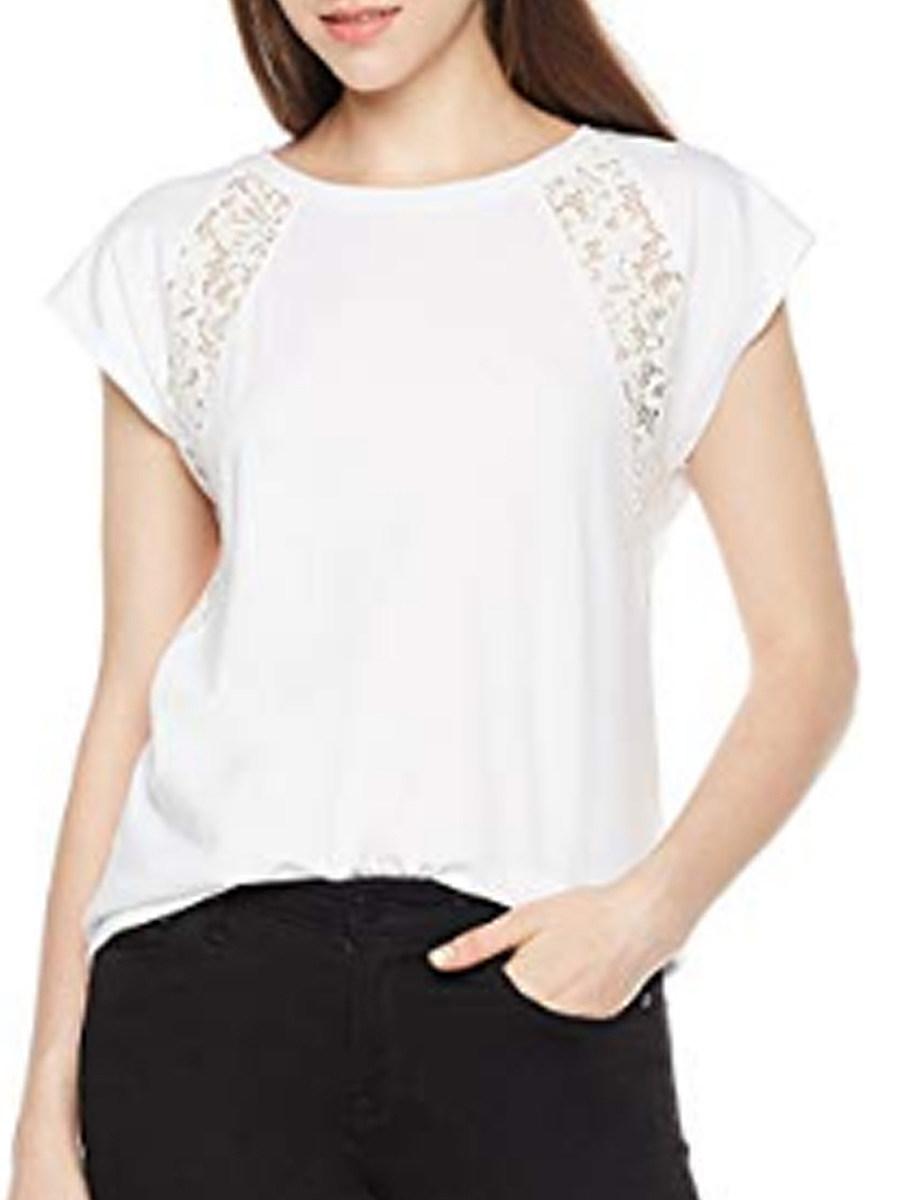 Lace panel short sleeve blouse