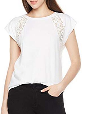 Lace panel short sleeve blouse, 11259706