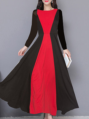 Casual Round Neck Colorblock Long Sleeve Dress, 10655931