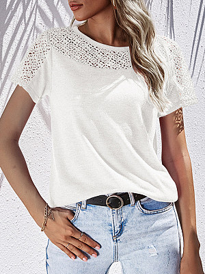 Round Neck Crochet Hollow Solid Color Casual Short-sleeved T-shirt