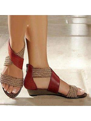 Women's Casual Colorblock Woven Sandals, 11063479