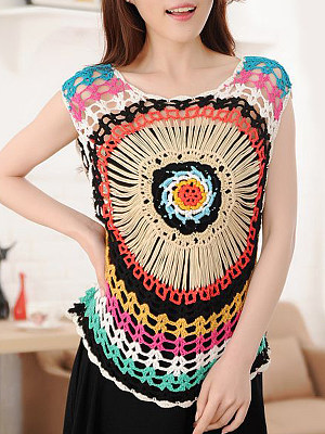 Round Neck Colorful Short Sleeve Knit Pullover фото