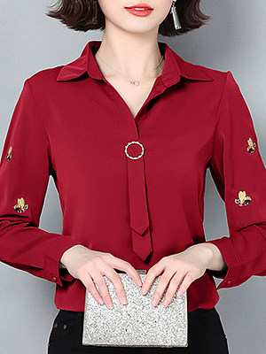 Turn Down Collar Embroidery Long Sleeve Blouse, 11021625