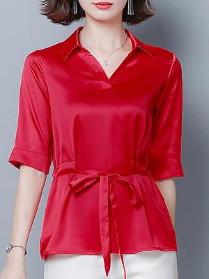 Turn Down Collar Plain Long Sleeve Blouse, 11098724