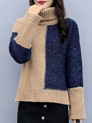 Heap Collar Color Block Long Sleeve Knit Pullover, 10521670