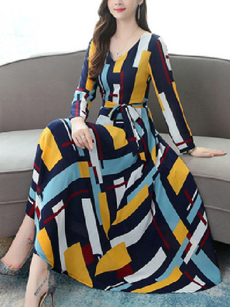 BerryLook Casual dress women loose long sleeve a-line skirt stripes