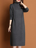 Image of High Neck Loose Solid Color Long Sleeve Knitted Dress