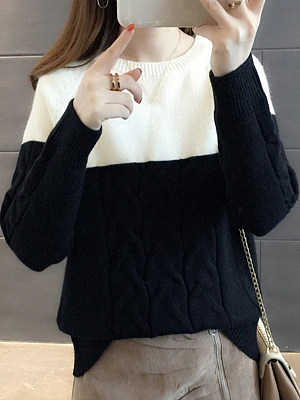 Round Neck Color Block Long Sleeve Knit Pullover, 10572883