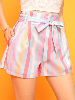 Fashion contrast color striped lace-up shorts casual hot pants, 23845516