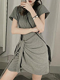 Solid Color Slim Tied Dress