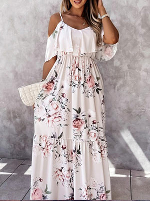 Leisure vacation print ruffled sling dress long skirt
