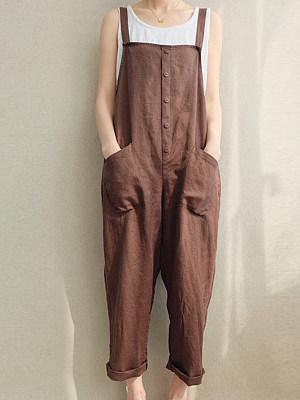 Colored linen jumpsuit slacks фото