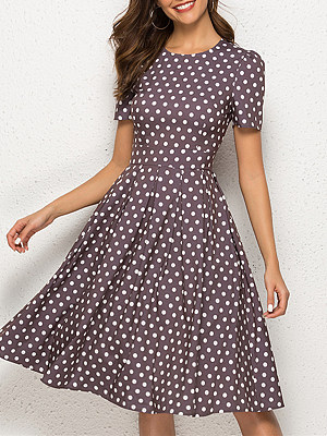 Fashion Slim Fit Short Sleeve Polka Dot Swing Puff Dress фото