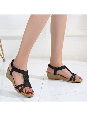 Casual Women Rubber Band Wedge Sandals