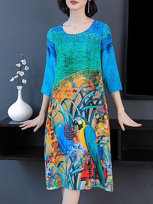 Women's Mid-long Print Dress gender:woman, season:summer,spring, collar:crew neck, sleeve_length:short sleeve, style:japanese and korean style, dress_occasion:daily, bust:112,clothing length:112,shoulder width:41,
