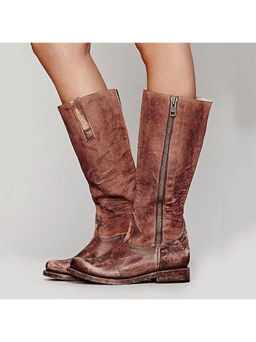 Round scalp boots side zipper fashion boots low heel women's shoes - from $31.95