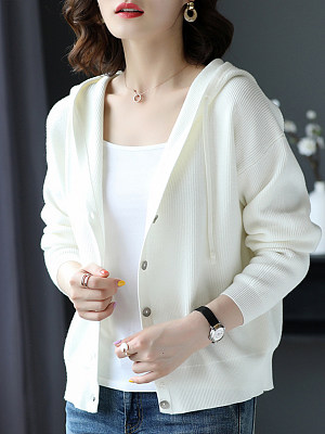 Hat Collar Casual Long Sleeve Knit Cardigan, 10550512