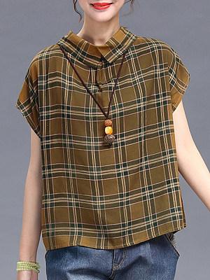 Turn Down Collar Plaid Short Sleeve Linen Blouse, 11567238