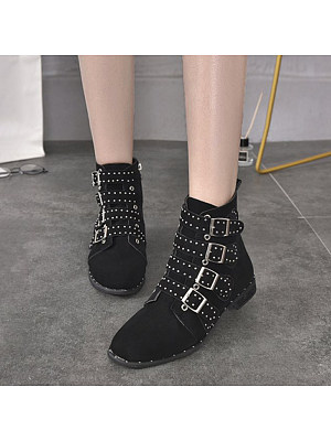 Fashionable Studded Round Toe Low Heel Martin Boots, 10567503