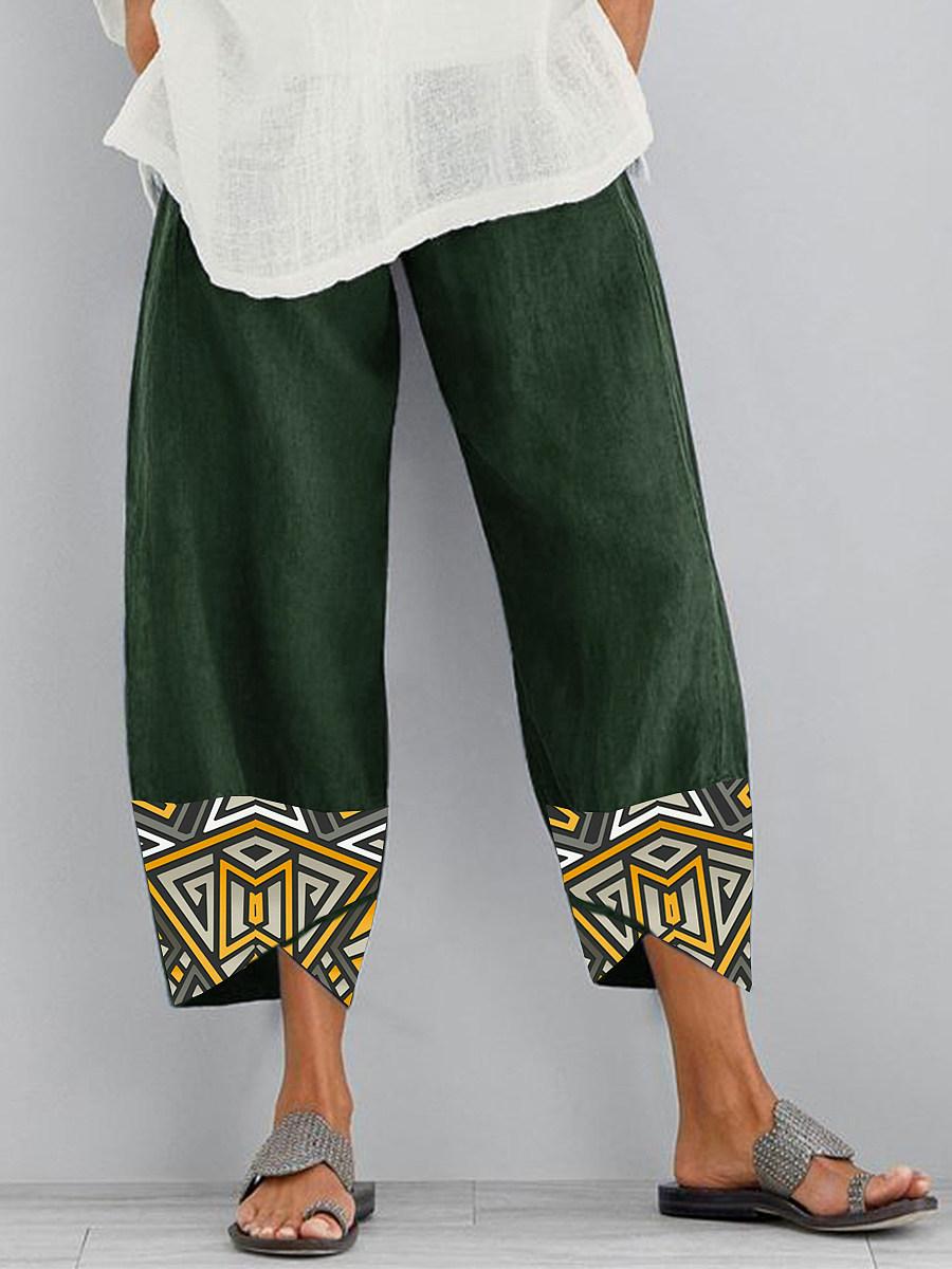 BerryLook Fashion printed stitching split wide-leg pants