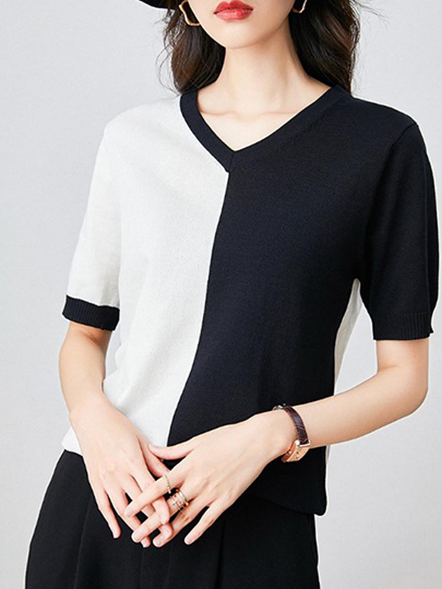 V Neck Color Block Short Sleeve Knit Pullover