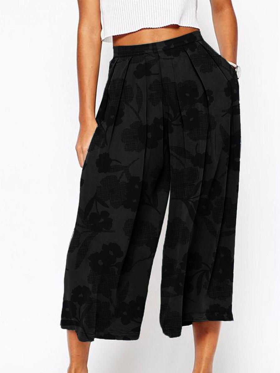BerryLook Summer printed cotton and linen wide-leg pants