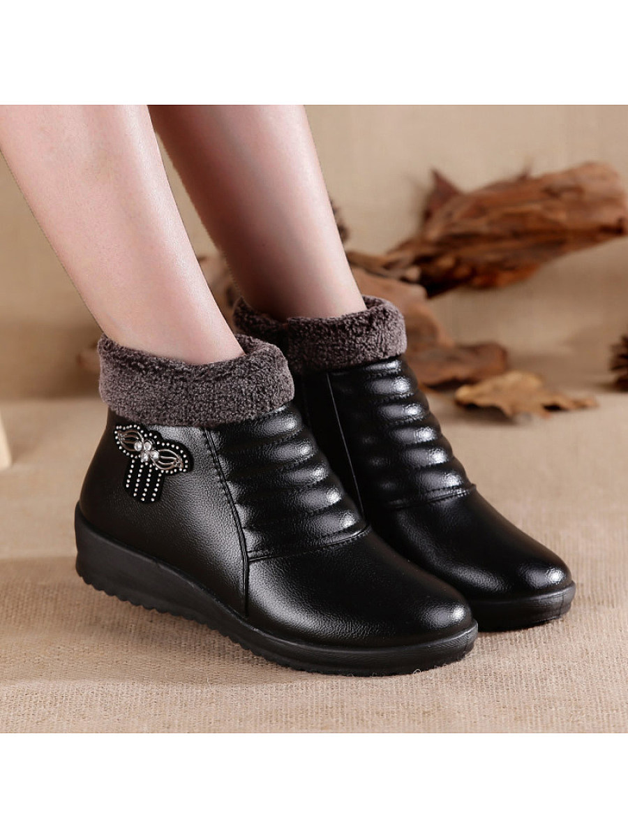 Fashion mother shoes plus velvet soft bottom non-slip boots - from $19.95